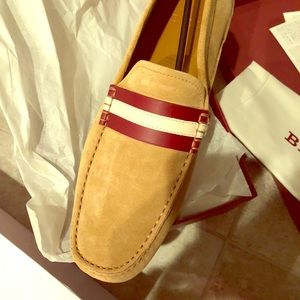 Bally Suede Brown Tan Walker Driver Moccasin